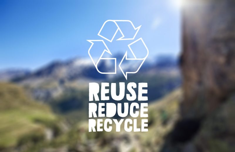 bild över landskap med blå himmel. på bilden ligger text reuse, reduce, recycle